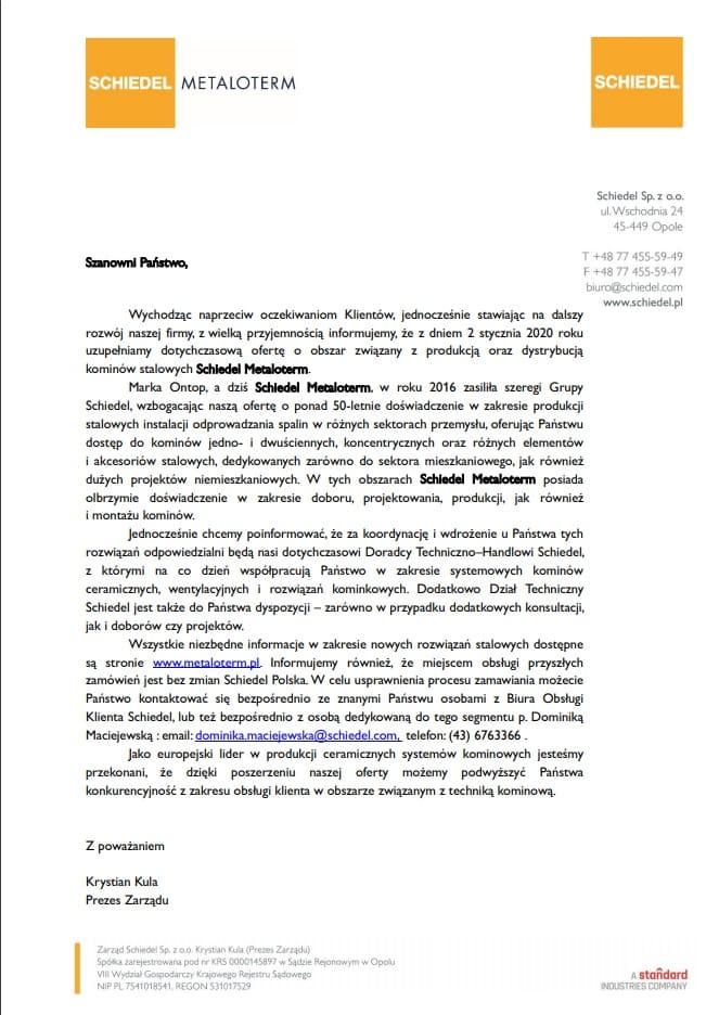 Poszerzenie palety produktowej – kominy stalowe Schiedel Metaloterm