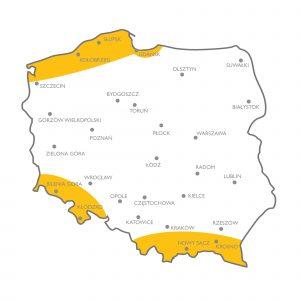 Daszki kominowe - mapa i strefy gdzie należy je montować
