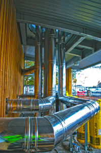 Schiedel was contracted to supply & install three 250mm internal diameter flue systems serving Viessmann Vitoplex 200 condensing boilers and a 350mm internal diameter flue system for a Viessmann Kob Pyrot biomass boiler.