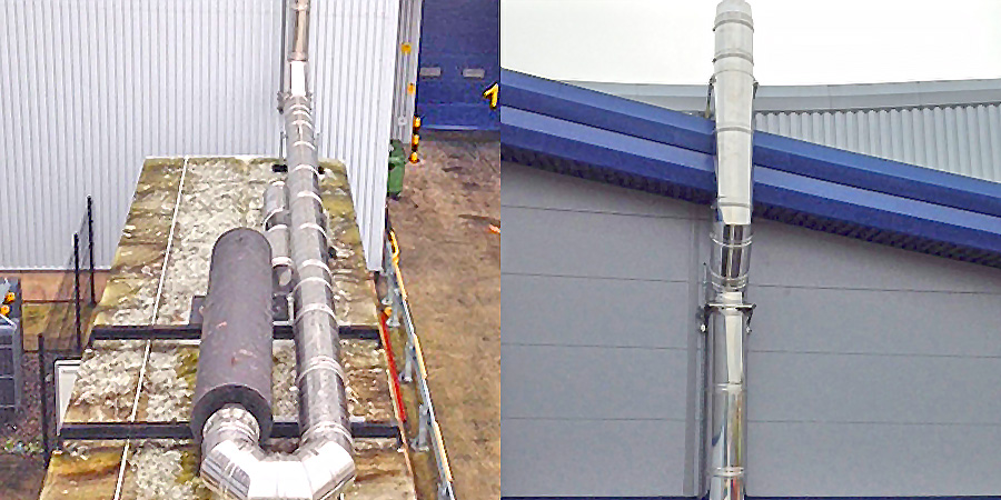 Flue for a Distribution Centre in Amesbury  Highly efficient ICS 5000 installation.