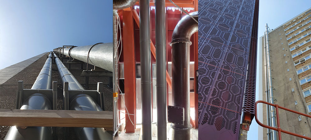 Private: Metaloterm System in Bunhill 2 Energy Centre. Schiedel Metaloterm MF Chimney System.