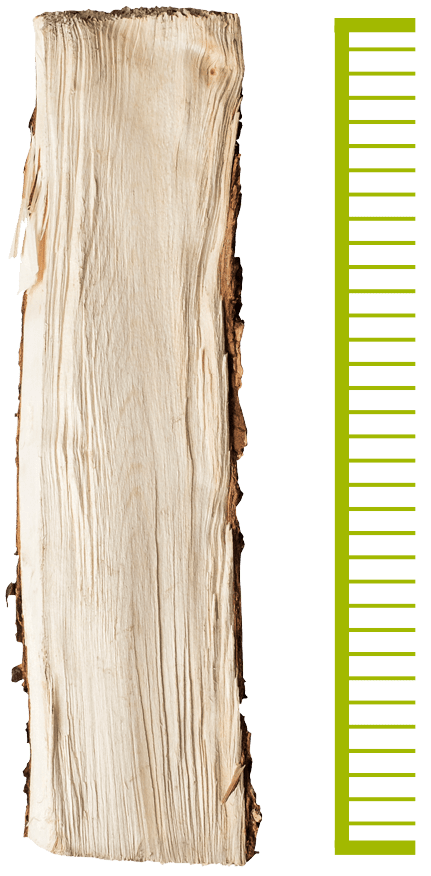 Diagram showing a piece of wood should be 25 to 30 cm length