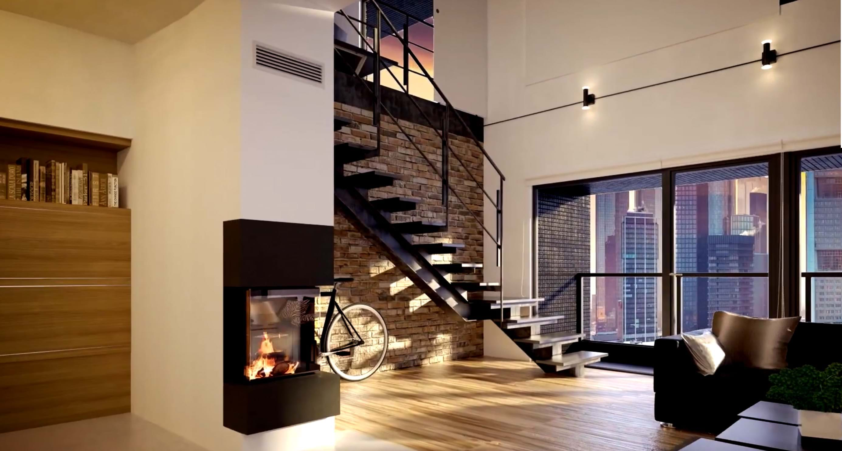 Installation of fireplace in modern apartment