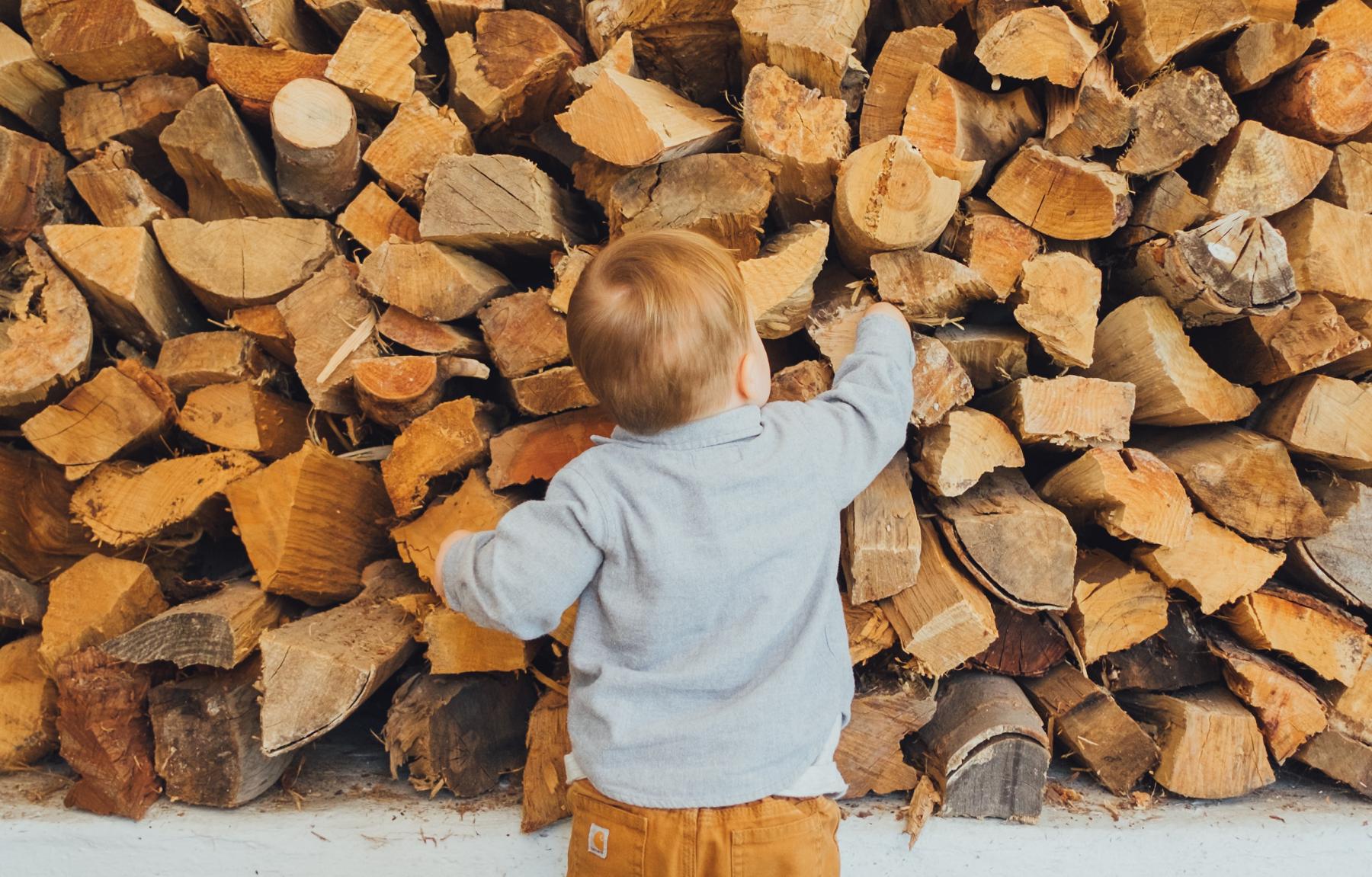 kleiner Junge vorm Feuerholz