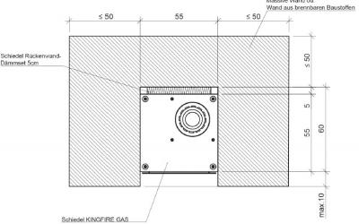 Konstruktionszeichnung: Abstände zu brennbaren Bauteilen